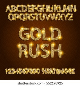 gold rush. gold alphabets and numbers on dark background. Vector illustration