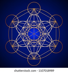 Gold Sacred Geometry Metatron Cube pattern on background