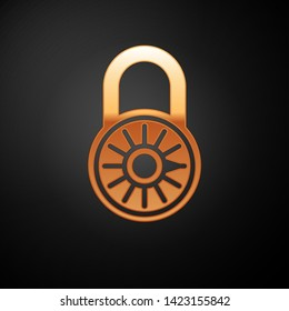 Gold Safe combination lock wheel icon isolated on black background. Combination padlock. Security, safety, protection, password, privacy concept. Vector Illustration