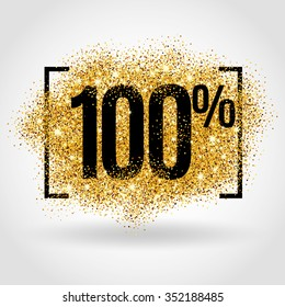 Gold sale 100 percent. Golden sale 100% percent on gold background. Shine salling background for flyer, poster, shopping, hundred, sign, discount, selling, banner, web, header. Light blur backdrop