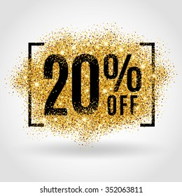 Gold sale 20 percent. Golden sale 20% percent on gold background. Shine salling background for flyer, poster, shopping, for symbol sign, discount, selling, banner, web, header. Light blur backdrop