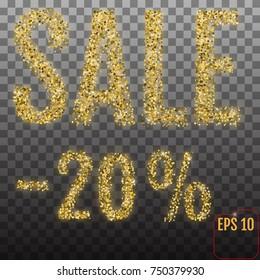 Gold sale 20 percent. Golden sale 20% percent on transparent background. Shine salling background for flyer, poster, shopping, for symbol sign, discount, selling, banner, web, header.