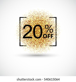 Gold sale 20 percent on gold background. Gold sale background for flyer, poster, shopping, for sale sign, discount, marketing, selling, banner, web, header Gold blur background