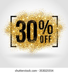 Gold sale 30 percent. Golden sale 30% percent on gold background. Shine salling background for flyer, poster, shopping, for symbol sign, discount, selling, banner, web, header. Light blur backdrop