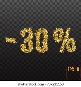 Gold sale 30 percent. Golden sale 30% percent on transparent background. Shine salling background for flyer, poster, shopping, for symbol sign, discount, selling, banner, web, header.
