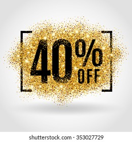 Gold sale 40 percent. Golden sale 40% percent on gold background. Shine salling background for flyer, poster, shopping, for symbol sign, discount, selling, banner, web, header. Light blur backdrop