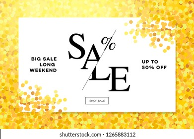 Gold sale background in frame. Golden glitter flyer, poster, shopping, for selling sign, discount, marketing, shoping, banner, web, header. Abstract golden backdrop text, vector illustration.