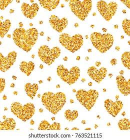 Gold sand on heart shape seamless background.