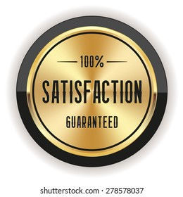 Gold satisfaction badge with black border on white background