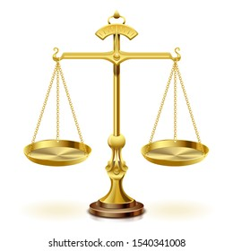 Gold scale of justice on white background.