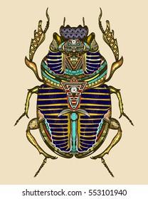 Gold scarab color tattoo, ancient Egypt art. Spiritual symbol of pharaoh, god Ra, t-shirt design. Egyptian sacred bug gold scarab, symbol of the sun