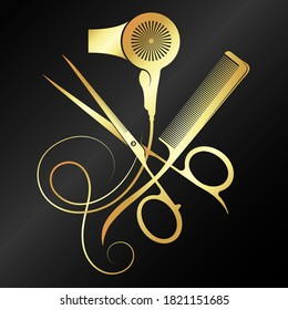 Gold scissors and comb with hair curl design