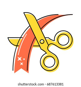 Gold scissors cut the red ribbon. Grand opening. Vector illustration.