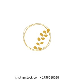 Gold scribble circles. Circular outline vector image. Golden rings with gentle twig. Gold doodle circles. Vector round curves. Logo element template.
