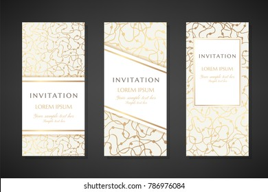 Gold scribbles. Invitation templates. Cover design with ornaments. Vector decorative flyers with copy space.