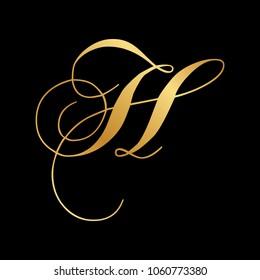gold, script letter H