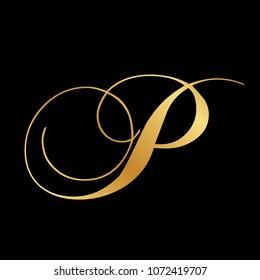 gold script letter P