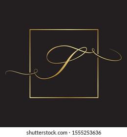 gold script letter s inside square frame