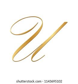 gold script letter U