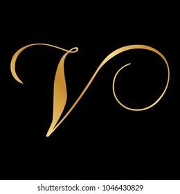 gold script letter V