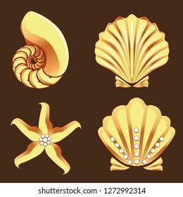 Gold sea creature seashell, nautilus, starfish and pealrs-vector