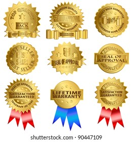Gold seals. Seal of approval, lifetime warranty, high quality product.