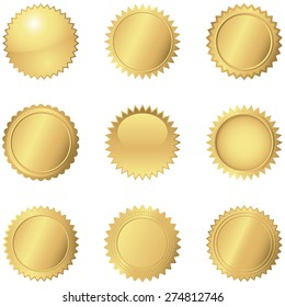 Gold Seals - Set of 9 different gold seals.  Each seal is grouped separately for easy editing.  Colors are just a few global swatches, so they can be modified easily.