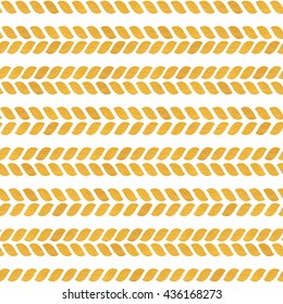 Gold seamless pattern. Braids with golden texture on a white background. Yellow rope. Cute holiday wallpaper. Vector illustration.