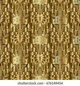 Gold seamless pattern. Textured golden surface floral background wallpaper illustration with gold 3d abstract flowers and greek key ornaments. Vector vintage surface royal gold textured background.