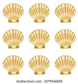 Gold seashell vector graphics, pearl bivalved mollusks illustration. Macro scallop, bivalve pearl shell, marine mollusk isolated wild life-nature background. Minimalist sea shell pattern.