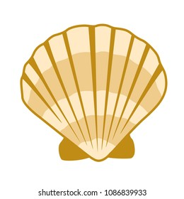 Gold seashell vector graphics, pearl bivalved mollusks illustration. Exotic scallop, bivalve pearl shell, marine mollusk isolated wild life-nature background. Simple sea shell pattern.