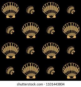 Gold seashell vector graphics, pearl bivalved mollusks illustration. Cute scallop, bivalve pearl shell, marine mollusk isolated wild life-nature background. Trendy sea shell graphic design.