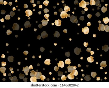 Gold seashells vector, golden pearl bivalved mollusks. Underwater scallop, bivalve pearl shell, marine mollusk isolated on black wild life nature background. Chic gold sea shell illustration.