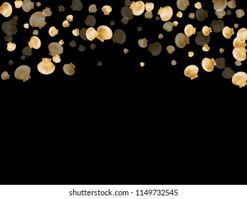 Gold seashells vector, golden pearl bivalved mollusks. Underwater scallop, bivalve pearl shell, marine mollusk isolated on black wild life nature background. Cool gold sea shell graphics.