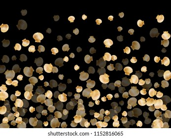 Gold seashells vector, golden pearl bivalved mollusks. Oceanic scallop, bivalve pearl shell, marine mollusk isolated on black wild life nature background. Cool gold sea shell illustration.