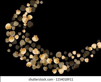 Gold seashells vector, golden pearl bivalved mollusks. Cartoon scallop, bivalve pearl shell, marine mollusk isolated on black wild life nature background. Stylish gold sea shell graphics.
