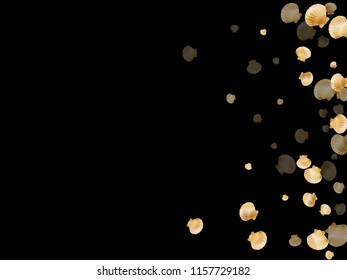 Gold seashells vector, golden pearl bivalved mollusks. Underwater scallop, bivalve pearl shell, marine mollusk isolated on black wild life nature background. Rich gold sea shell illustration.