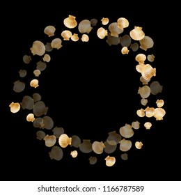 Gold seashells vector, golden pearl bivalved mollusks. Cute scallop, bivalve pearl shell, marine mollusk isolated on black wild life nature background. Chic gold sea shell graphics.