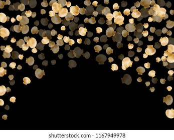 Gold seashells vector, golden pearl bivalved mollusks. Underwater scallop, bivalve pearl shell, marine mollusk isolated on black wild life nature background. Rich gold sea shell vector.