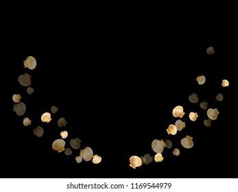Gold seashells vector, golden pearl bivalved mollusks. Aquatic scallop, bivalve pearl shell, marine mollusk isolated on black wild life nature background. Trendy gold sea shell design.
