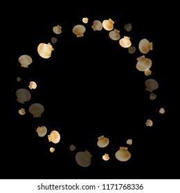 Gold seashells vector, golden pearl bivalved mollusks. Aquarium scallop, bivalve pearl shell, marine mollusk isolated on black wild life nature background. Stylish gold sea shell graphics.