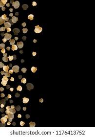 Gold seashells vector, golden pearl bivalved mollusks. Sea scallop, bivalve pearl shell, marine mollusk isolated on black wild life nature background. Trendy gold sea shell graphics.