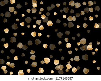 Gold seashells vector, golden pearl bivalved mollusks. Sea scallop, bivalve pearl shell, marine mollusk isolated on black wild life nature background. Trendy gold sea shell graphics.