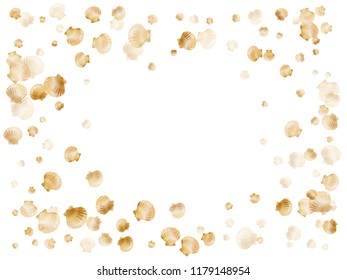 Gold seashells vector, golden pearl bivalved mollusks. Aquarium scallop, bivalve pearl shell, marine mollusk isolated on white wild life nature background. Trendy gold sea shell design.