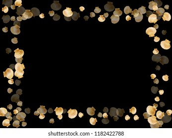 Gold seashells vector, golden pearl bivalved mollusks. Cute scallop, bivalve pearl shell, marine mollusk isolated on black wild life nature background. Chic gold sea shell design.