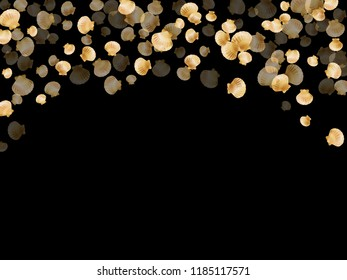 Gold seashells vector, golden pearl bivalved mollusks. Ocean scallop, bivalve pearl shell, marine mollusk isolated on black wild life nature background. Rich gold sea shell design.