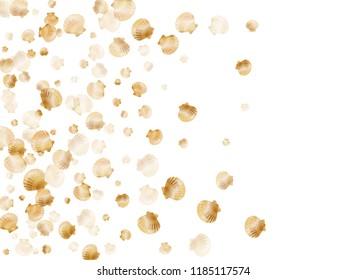 Gold seashells vector, golden pearl bivalved mollusks. Underwater scallop, bivalve pearl shell, marine mollusk isolated on white wild life nature background. Stylish gold sea shell illustration.