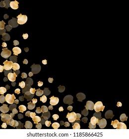 Gold seashells vector, golden pearl bivalved mollusks. Aquatic scallop, bivalve pearl shell, marine mollusk isolated on black wild life nature background. Trendy gold sea shell illustration.