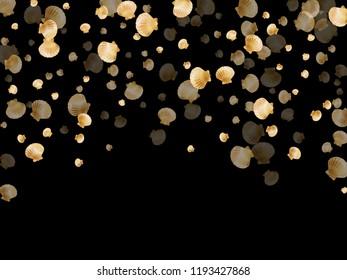 Gold seashells vector, golden pearl bivalved mollusks. Aquarium scallop, bivalve pearl shell, marine mollusk isolated on black wild life nature background. Chic gold sea shell vector.