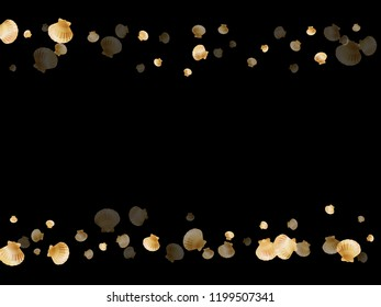 Gold seashells vector, golden pearl bivalved mollusks. Aquarium scallop, bivalve pearl shell, marine mollusk isolated on black wild life nature background. Cool gold sea shell vector.